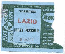 Biglietto Fiorentina vs Lazio 1973-74 (inviato da Faber '67)