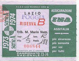 Biglietto Lazio vs Foggia 1973-74 (inviato da Faber '67)