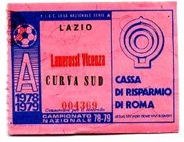 Biglietto Lazio vs L.R.Vicenza 1978-79