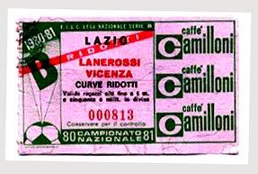 Biglietto Lazio vs L.R.Vicenza 1980-81