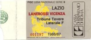 Biglietto Lazio vs L.R.Vicenza 1986-87