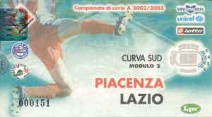 Biglietto Piacenza vs Lazio 2002-03 nella nebbia