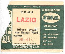 Biglietto Roma vs Lazio 1973-74 (inviato da Faber '67)